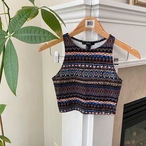 F21 Tribal Print Halter Fitted Crop Top